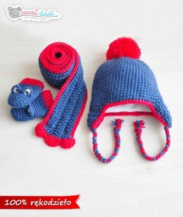 czapka, szalik, rękawiczki, dla dziewczynki, dla chłopca, ciepła, delikatna, miękka w dotyku, idealny na prezent, podarunek, włóczka najlepsza jakościowo, uroczy, zabawna, fajna, jeans, pompon, ciepła ,mamidadi, komplet na zimę, z polarem