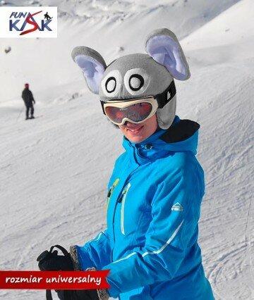 nakładka na kask, narciarski, polarowa, Funkask, mamidadi, słoń, myszka, fajna zabawa, na nartach, na snowboard, widoczne dziecko na stoku, na łyżwy, słoniątko, mysz, szara, na nartach