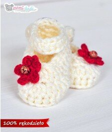 buciki balerinki ręcznie robione dla dziewczynki mamidadi, hand made, buty, do chrztu, beżowe, przód