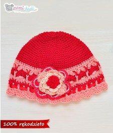 Wiosenna czapeczka - czerwono-łososiowa