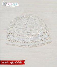 czapeczka ręcznie robione dla dziewczynki mamidadi, do chrztu, czapka, idealna, gładka, biała, widok z góry