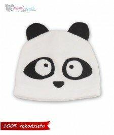 czapka, dla dziecka, dla niemowlaka, ciepła, delikatna, miękka w dotyku, idealny na prezent, podarunek, uroczy, zabawna, fajna, panda, miś, mamidadi, z góry