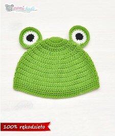 czapka, mamidadi, ręcznie robiona, hand made, żabka, prezent, żaba, dla dziecka, z góry