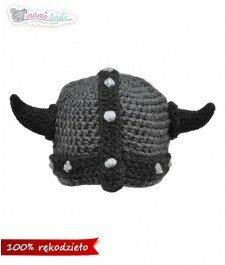 czapka, wiking, mamidadi, hand made, rogi, ręcznie robiona, szara, grafitowa, z przodu