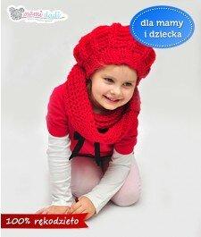 czapka, beret, ręcznie robiona, hand made, czerwony, mamidadi, dla dziecka, z przodu