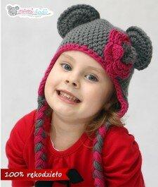 Ręcznie robiona czapeczka mamidadi, mis, z uszami, z kwiatkiem