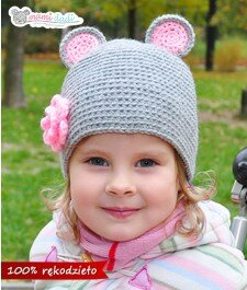 czapka dla dziewczynki,myszka, ciepła, delikatna, miękka w dotyku, idealny na prezent, podarunek, włóczka najlepsza jakościowo, uroczy, zabawna, fajna, mysz, z kwiatkiem, portret