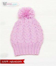 czapka, mamidadi, ręcznie robiona, hand made, smerfetka, z pomponem, na drutach, zwarkoczami, prezent, dla dziecka, fioletowa, z góry
