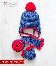 czapka, szalik, rękawiczki, dla dziewczynki, dla chłopca, ciepła, delikatna, miękka w dotyku, idealny na prezent, podarunek, włóczka najlepsza jakościowo, uroczy, zabawna, fajna, jeans, pompon, ciepł, mamidadi, komplet na zimę, ciepły komplet