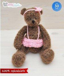 Ręcznie robiony, miś, mamidadi, hand made, szary, w sweterku, wyjątkowy, prezent, dla dziecka, dla dziewczyny, dla chłopaka, śliczny, brązowy, różowa spódniczka, różowa opaska, z przodu