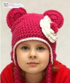 czapka dla dziewczynki, ciepła, delikatna, miękka w dotyku, idealny na prezent, podarunek, włóczka najlepsza jakościowo, miś, nidzwiadek, uroczy, zabawna, fajna, z przodu