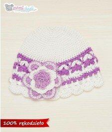 Wiosenna czapeczka - biało-fioletowa